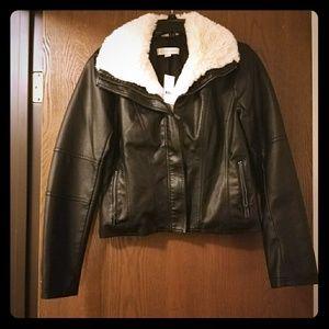 Bnwt faux leather sherpa bomber moto jacket